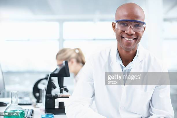 Souriant researcher
