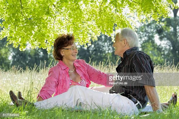 笑顔の芝生に座る年配のカップルの樹冠