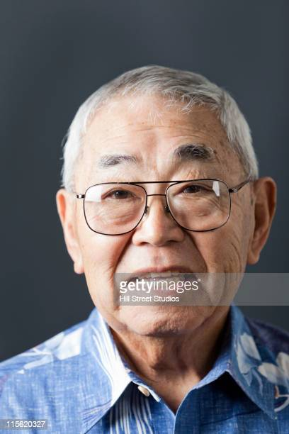 Smiling senior Japanese man