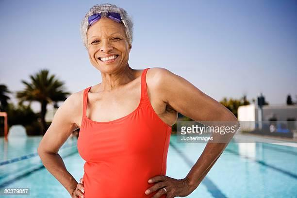 Smiling senior woman swimmer