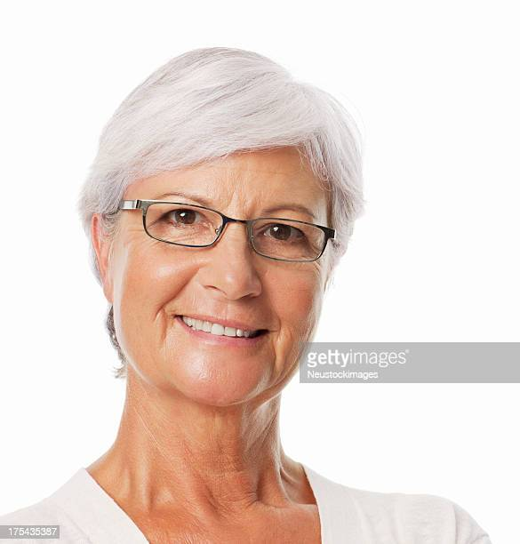 Smiling Senior Woman Wearing Glasses - Isolated