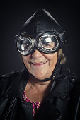 Smiling Senior Woman With Googles