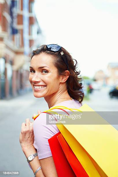 Smiling shopper out on the town