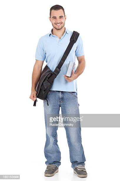 Smiling student with cross body bag and textbook
