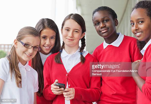 Smiling students outdoors