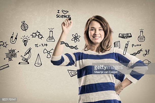 Smiling Teenage Girl, with Science Doodles