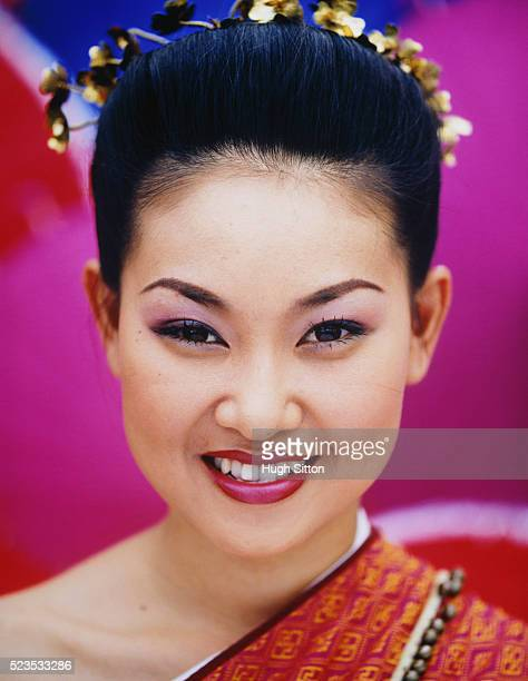 Smiling Thai Woman Wearing Traditional Dress