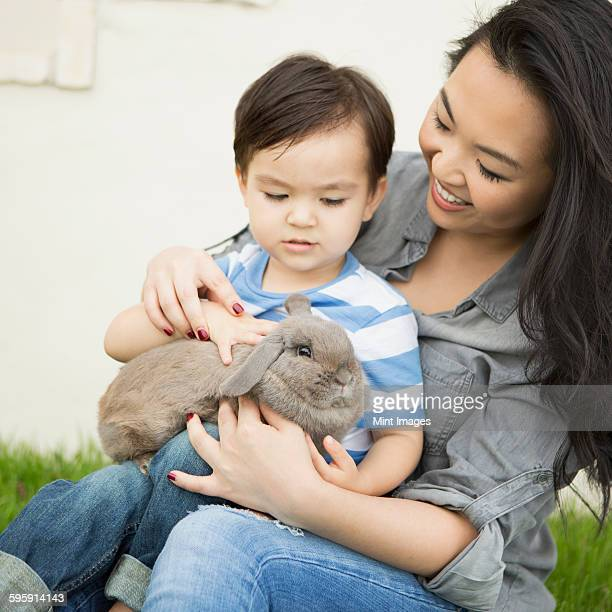 Smiling woman holding a rabbit, her young son sitting on her lap, stroking the animal.
