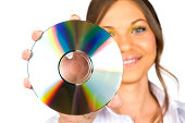 Smiling Woman Holding CD