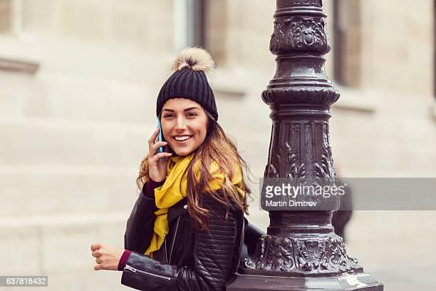 Smiling woman in Paris