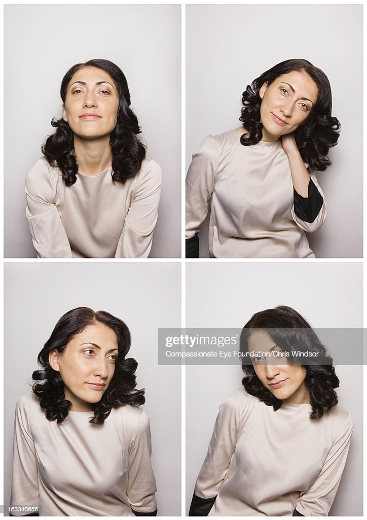 Smiling woman in photo booth