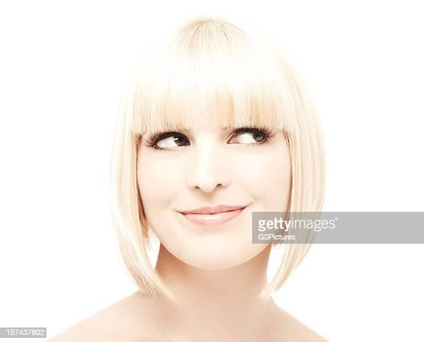 Mulher sorridente Olhar Para Longe