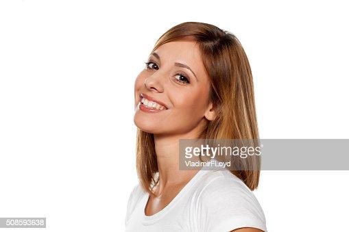 Mujer sonriente : Foto de stock