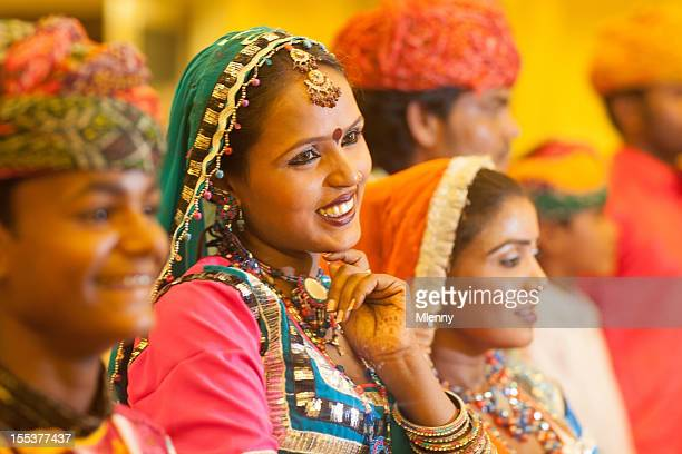 Smiling Woman Traditional Indian Music Performance Group