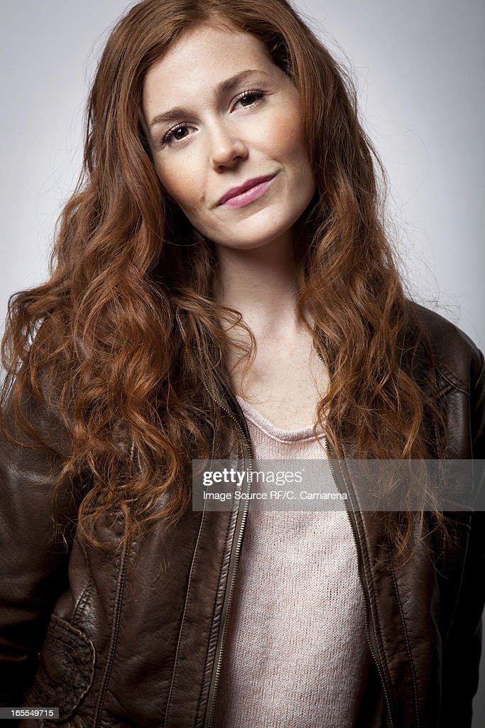 Smiling woman wearing jacket : Stock Photo