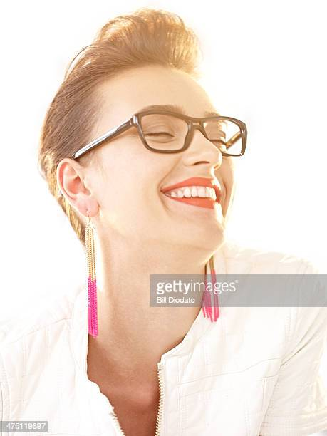 Smiling woman with black sunglasses