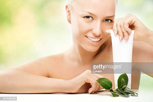 smiling woman with cream