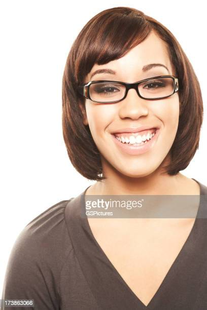 Smiling woman with glasses looking at the camera