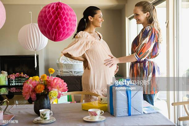 Smiling women at baby shower