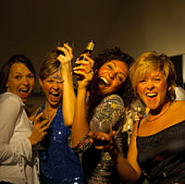 Smiling women partying