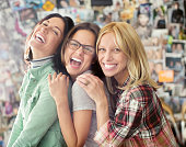 Smiling women posing together