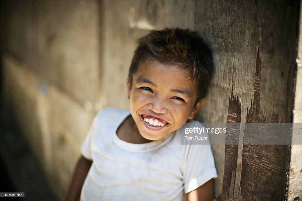 Smiling Young Boy, Filipino : Stock Photo
