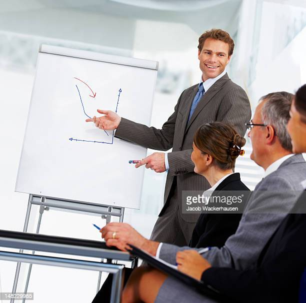 Smiling young businessman giving presentation to colleagues