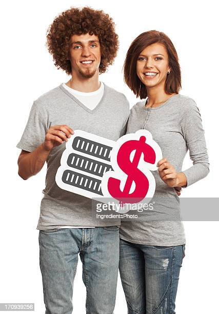 Smiling young couple holding cash payment sign isolated on white.