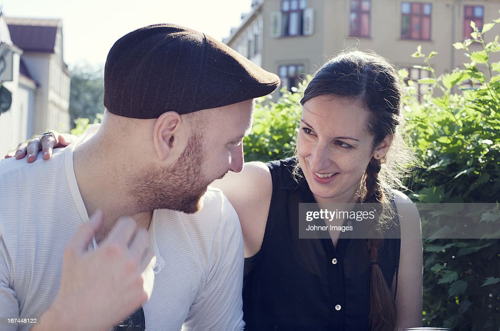 Smiling young couple together : Stock Photo