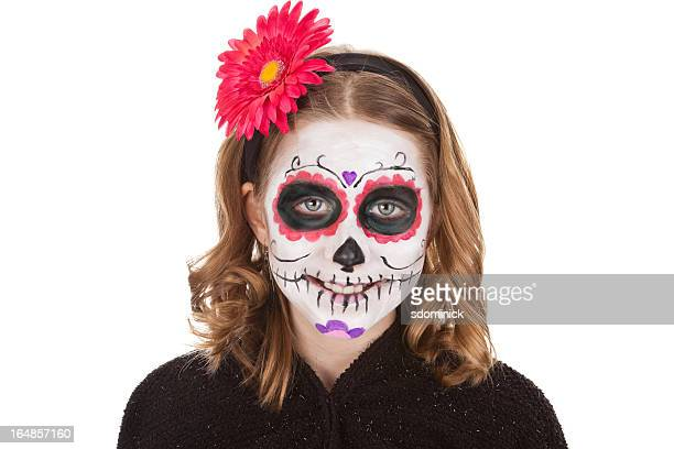 Smiling Young Girl With Sugar Skull Make Up