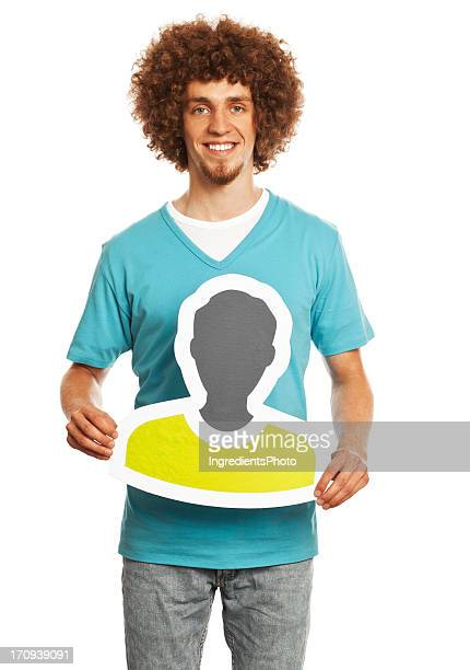 Smiling young man holding profile image sign isolated on white.
