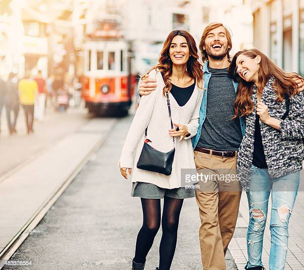 Smiling young people on the street in Turkey