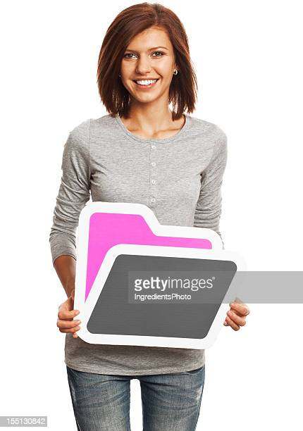 Smiling young woman holding folder sign isolated on white background.
