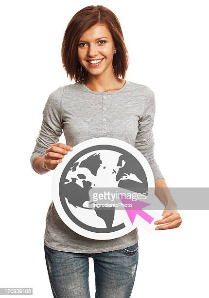 Smiling young woman holding internet sign isolated on white.