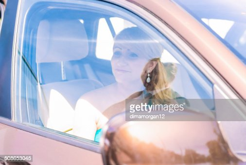 Smiling Young Woman Inside of the Car : Stock Photo