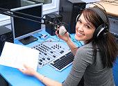 Radio DJ in the broadcasting studio