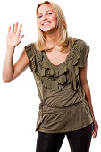 Smiling Young Woman Waving Hello or Goodbye