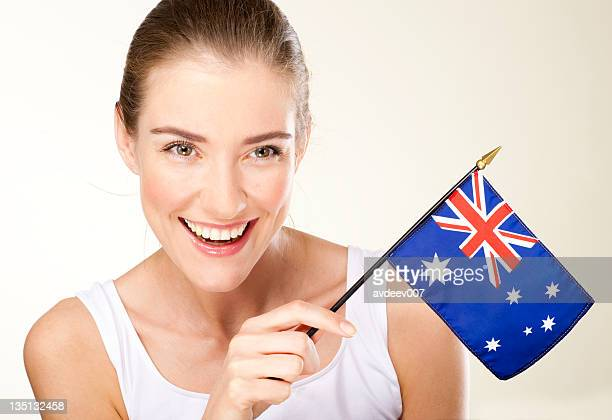 smiling young woman with Australian  flag
