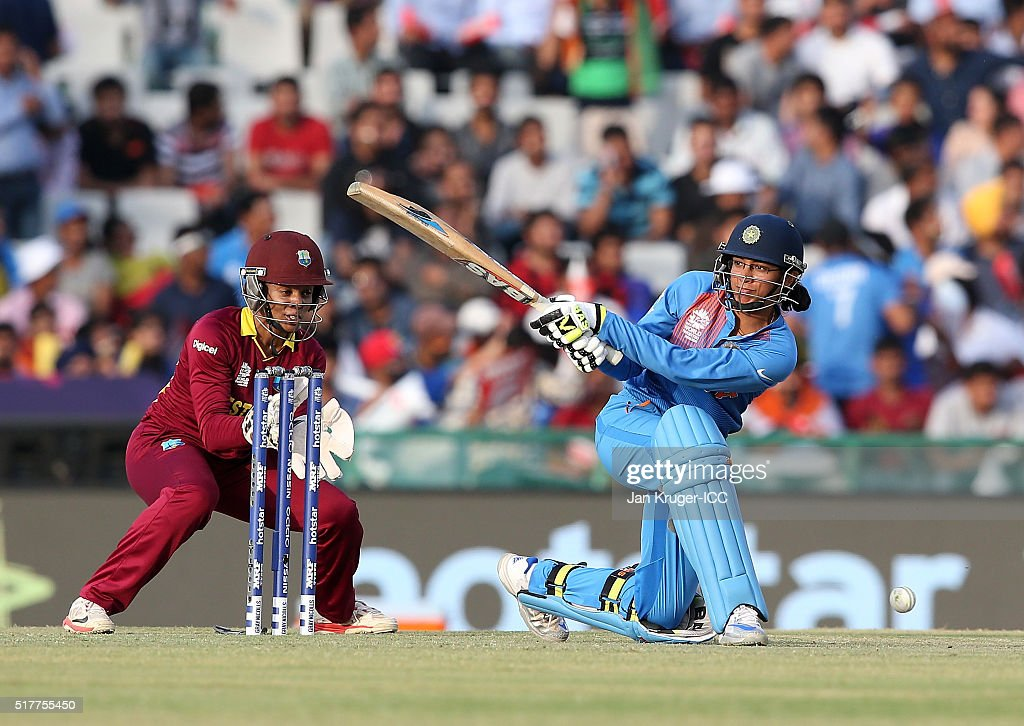 Smirti Mandhana of India sweeps with <a gi-track='captionPersonalityLinkClicked' href=/galleries/search?phrase=Merissa+Aguilleira&family=editorial&specificpeople=5740699 ng-click='$event.stopPropagation()'>Merissa Aguilleira</a> of the West Indies looking on during the Women's ICC World Twenty20 India 2016 match between West Indies and India at IS Bindra Stadium on March 27, 2016 in Mohali, India.