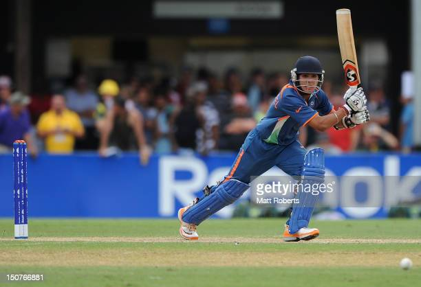 Smit Patel of India bats during the 2012 ICC U19 Cricket World Cup Final between Australia and India at Tony Ireland Stadium on August 26 2012 in...