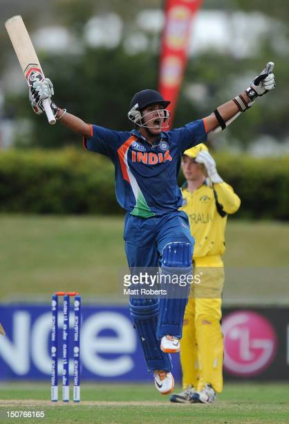 Smit Patel of India celebrates scoring the winning runs during the 2012 ICC U19 Cricket World Cup Final between Australia and India at Tony Ireland...