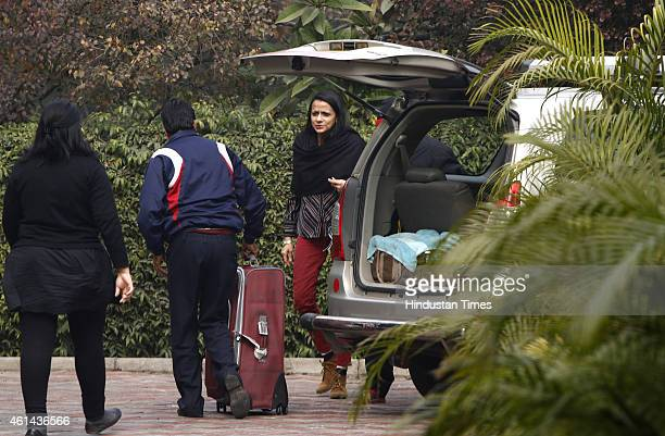 Smita Tharoor sister of Congress MP Shashi Tharoor at her residence on January 12 2015 in New Delhi India Delhi Police Commissioner BS Bassi said...