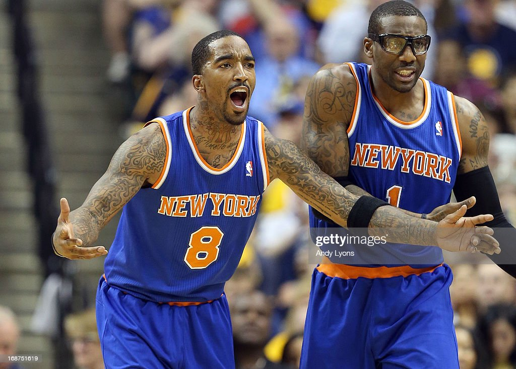 J.R. Smith #8 and Amare Stoudemire #1 of the New York Knicks protest a foul called during the game against the Indiana Pacers during Game Four of the Eastern Conference Semifinals of the 2013 NBA Playoffs at Bankers Life Fieldhouse on May 14, 2013 in Indianapolis, Indiana.