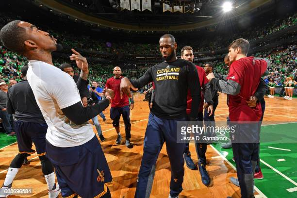 R Smith and LeBron James of the Cleveland Cavaliers dance before Game Five of the Eastern Conference Finals against the Boston Celtics during the...