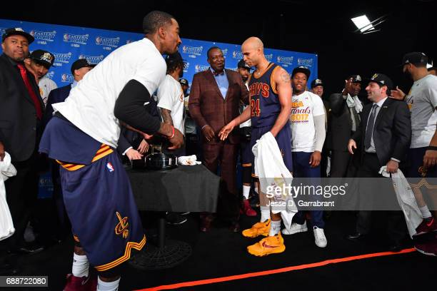 R Smith and Richard Jefferson of the Cleveland Cavaliers celebrate during the photo shoot after winning Game Five of the Eastern Conference Finals...