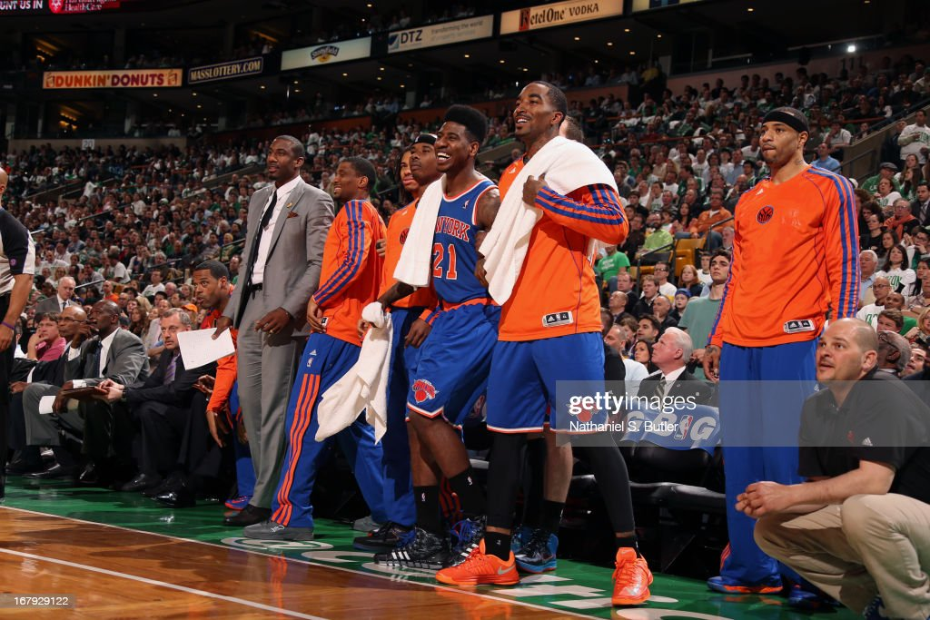 J.R. Smith #8 and the New York Knicks bench react to a play against the Boston Celtics in Game Three of the Eastern Conference Quarterfinals during the 2013 NBA Playoffs on April 26, 2013 at the TD Garden in Boston.