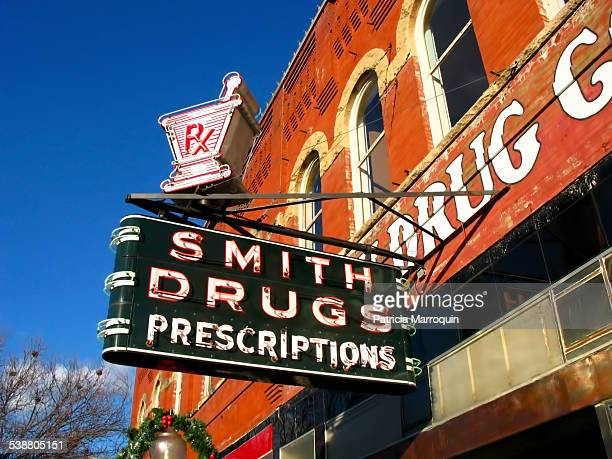 Smith Drugs neon sign in McKinney Texas downtown square circa 2000 After 149 years in McKinney the pharmacy and drug store closed its doors in 2008...