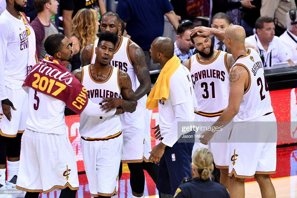 JR Smith #5, Iman Shumpert #4, LeBron James #23, James Jones #1, Deron Williams #31 and Richard Jefferson #24 of the Cleveland Cavaliers react in the third quarter after a play against the Golden State Warriors in Game 4 of the 2017 NBA Finals at Quicken Loans Arena on June 9, 2017 in Cleveland, Ohio.