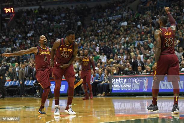 Smith Jeff Green nd LeBron James of the Cleveland Cavaliers reacts to an officials call during the second half of a game against the Milwaukee Bucks...
