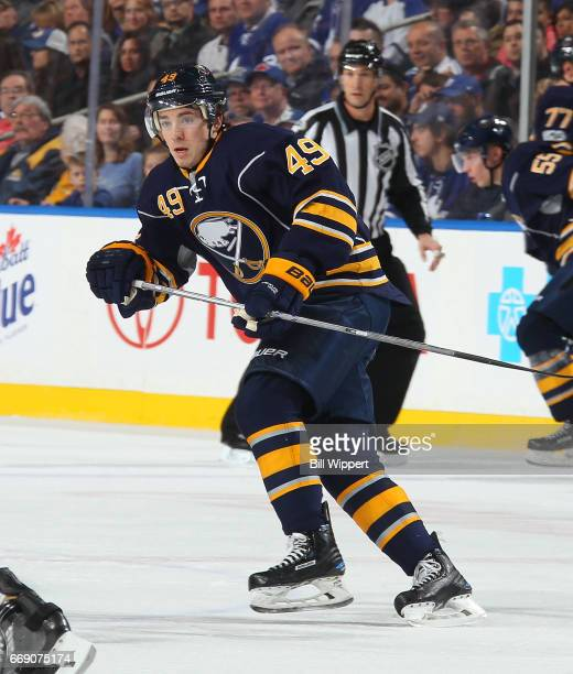 J Smith of the Buffalo Sabres skates against the Toronto Maple Leafs during an NHL game at the KeyBank Center on April 3 2017 in Buffalo New York